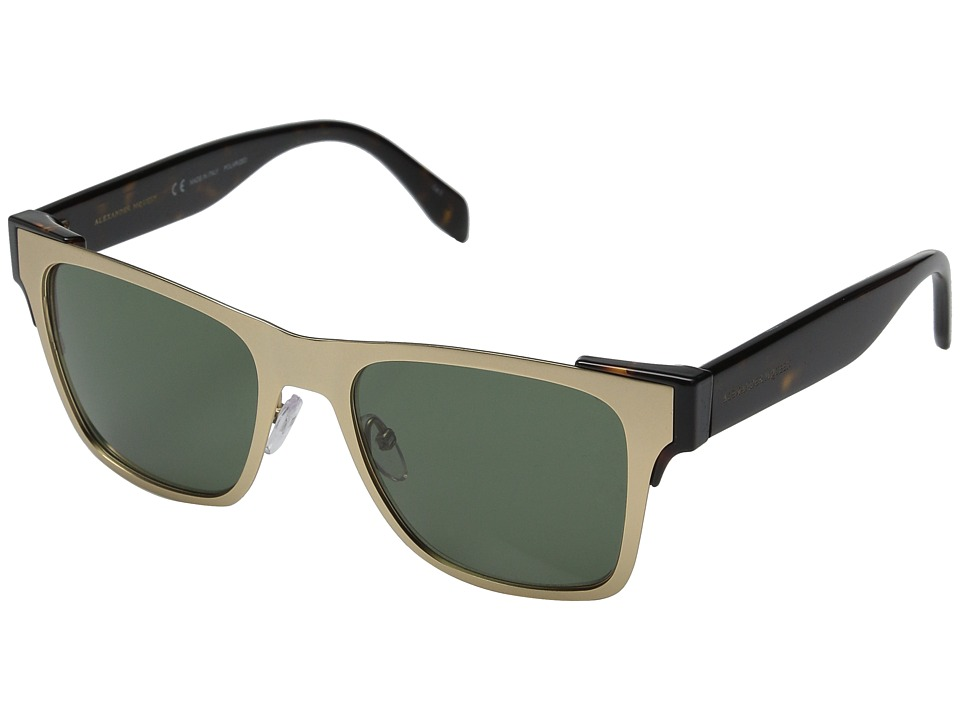 Image of Alexander McQueen - AM0011S (Matte Gold/Green) Fashion Sunglasses