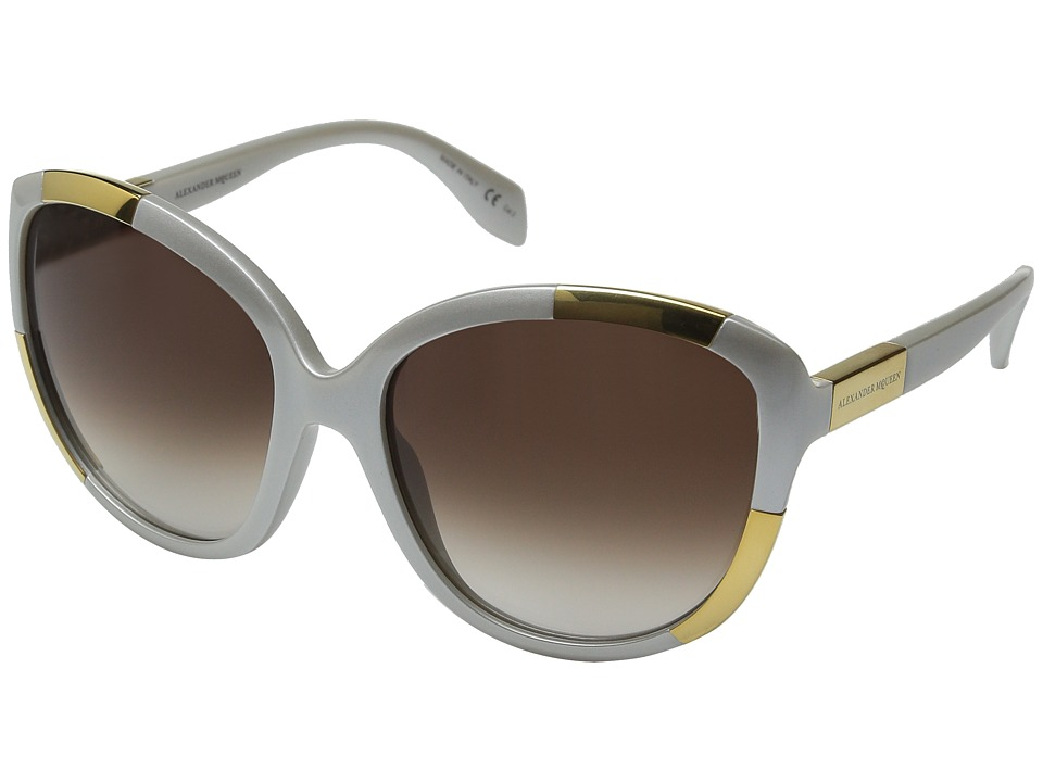 Alexander McQueen AM0006S White Pearl/Brown Gradient Fashion Sunglasses