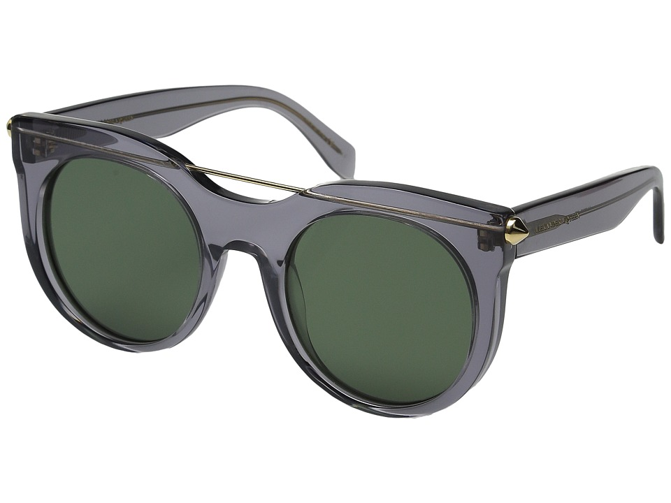 Alexander McQueen AM0001S Transparent Grey/Green Fashion Sunglasses
