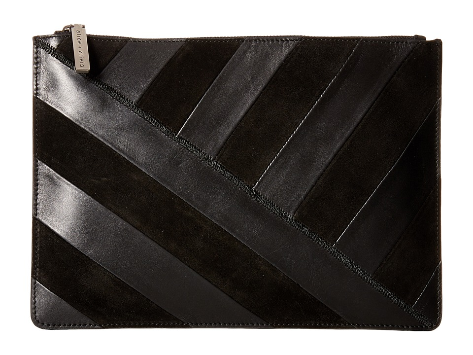 Alice + Olivia - Suede Striped Large Zip Pouch (Black) Travel Pouch