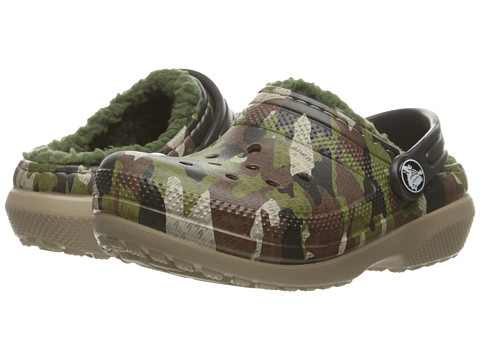 Crocs Kids Classic Lined Graphic Clog (Toddler/Little Kid) - Green Camo