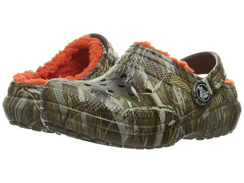 Crocs Kids Classic Lined Clog Realtree Max-5 (Toddler/Little Kid) - Chocolate/Orange