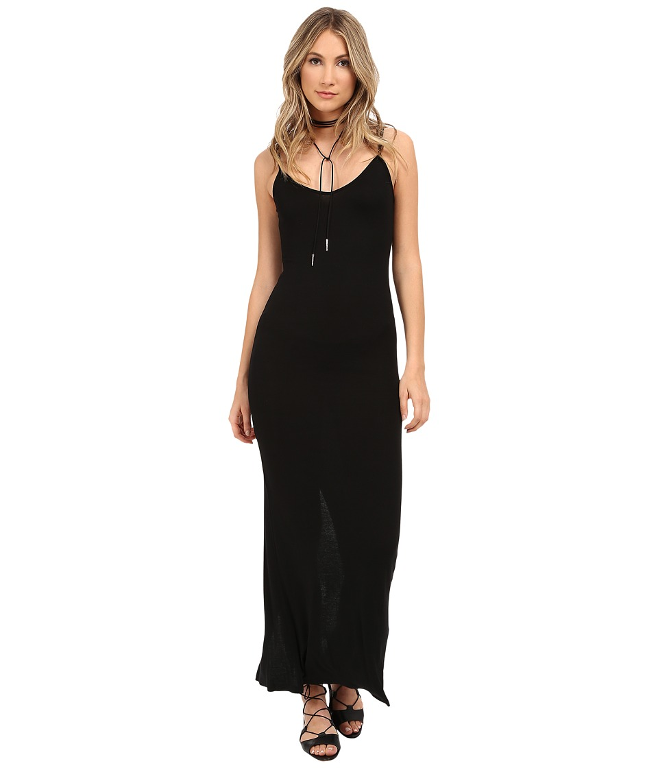 HEATHER Rib Slit Back Maxi Dress Black Womens Dress