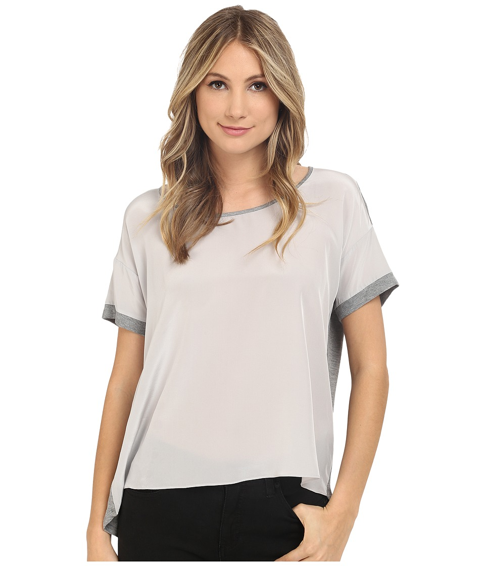 HEATHER Silk Front Tee Heather Grey Womens Short Sleeve Pullover