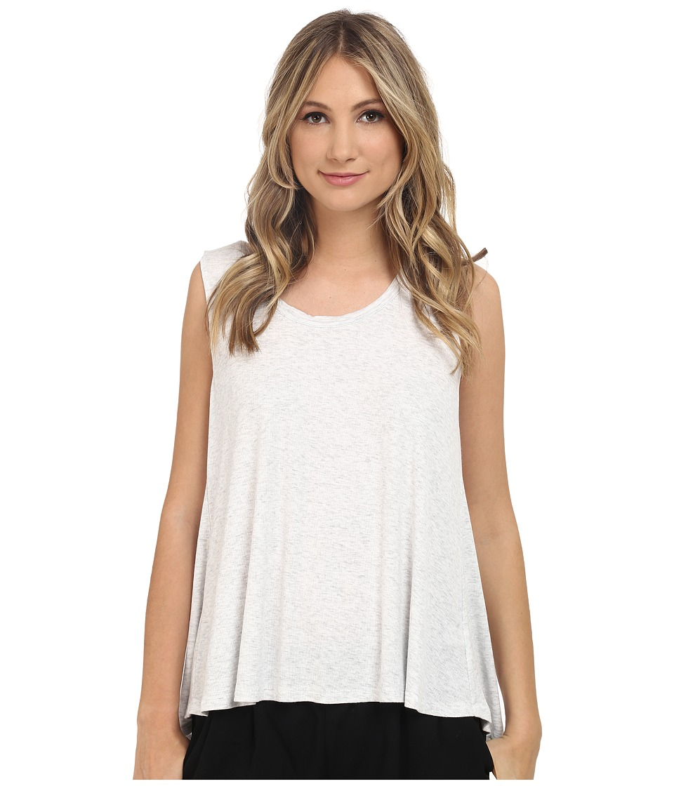 HEATHER Scoop Neck Boxy Tee Heather White Womens Short Sleeve Pullover