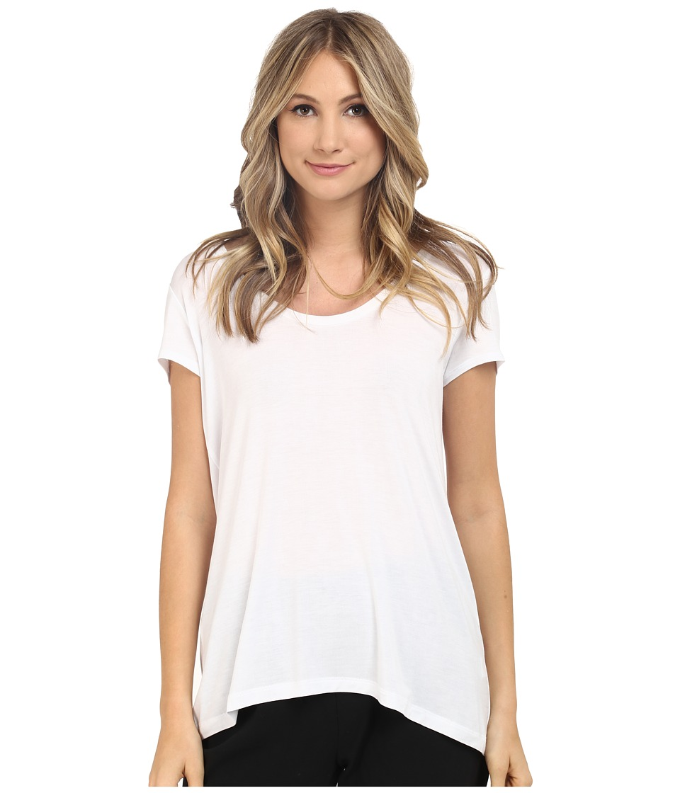 HEATHER Scoop Neck Tee White Womens Short Sleeve Pullover
