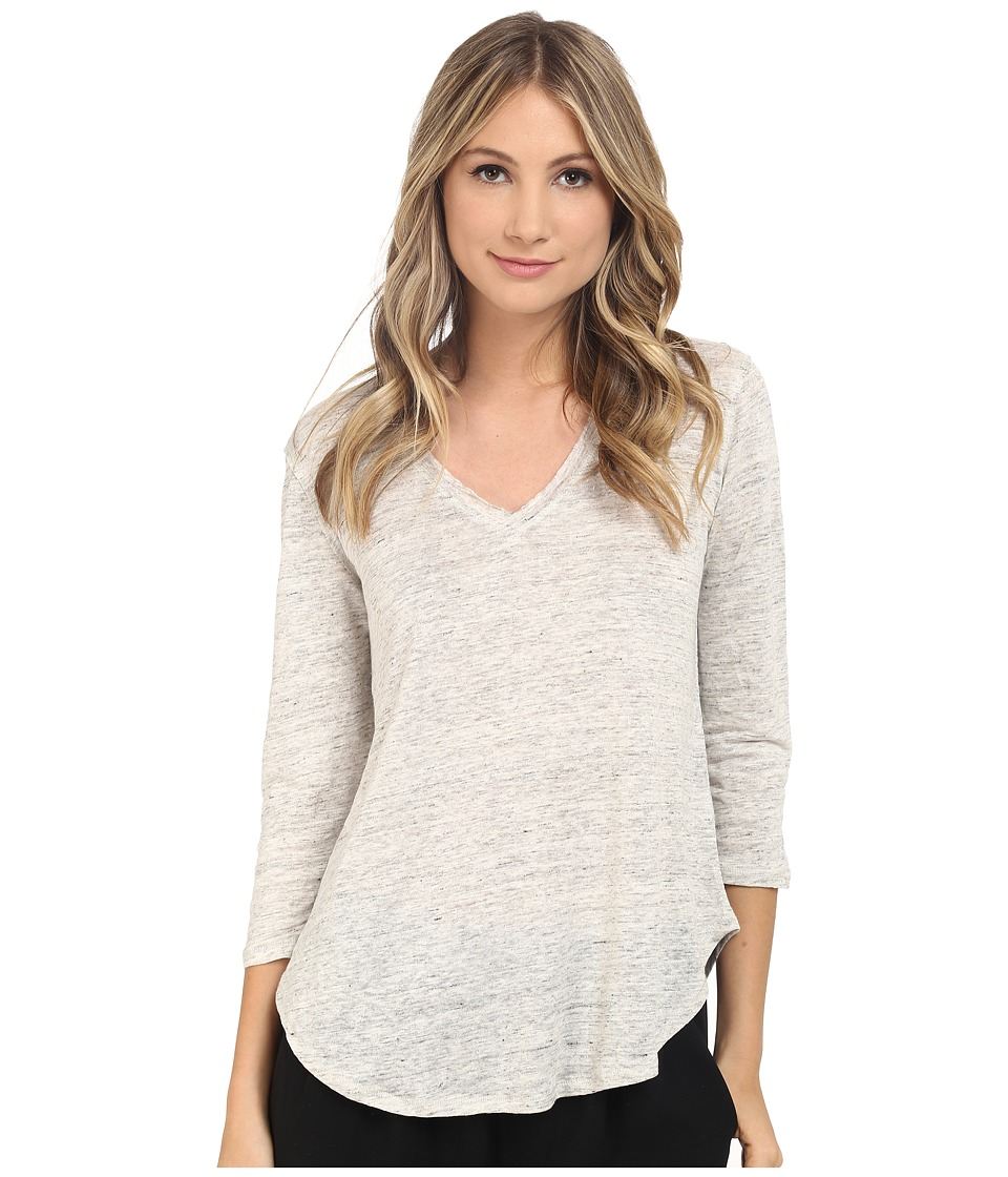 HEATHER Linen 3/4 Sleeve Swing Tee Heather White Womens Long Sleeve Pullover
