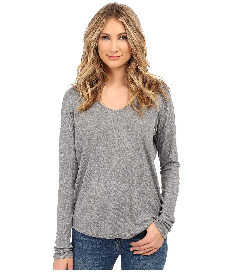 HEATHER Long Sleeve Rib Shirt Tail Tee Heather Grey Womens Long Sleeve Pullover