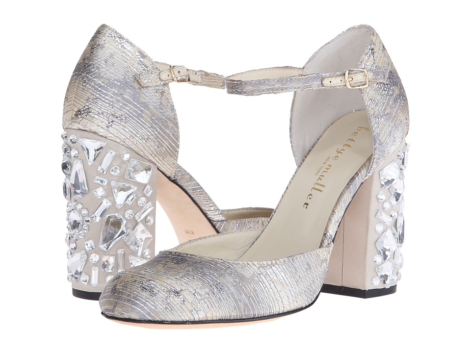 Bettye Muller Bejeweled Gold Chopin Fabric High Heels