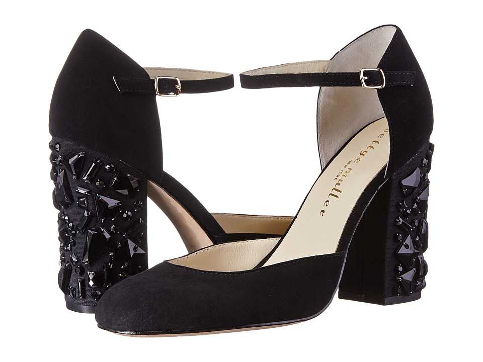 Bettye Muller Bejeweled Black Kid Suede High Heels