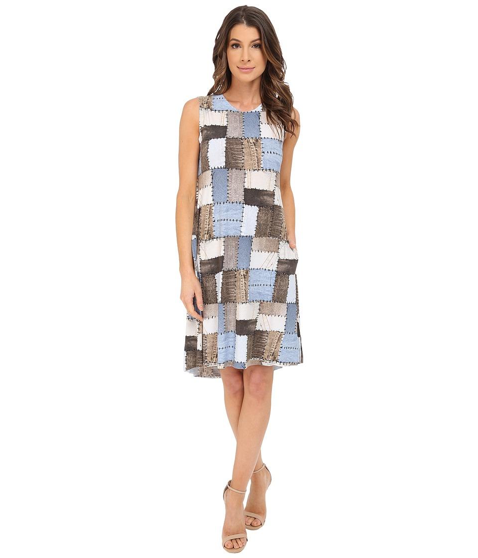 KAMALIKULTURE by Norma Kamali Sleeveless Swing Dress Blue Patchwork Womens Dress