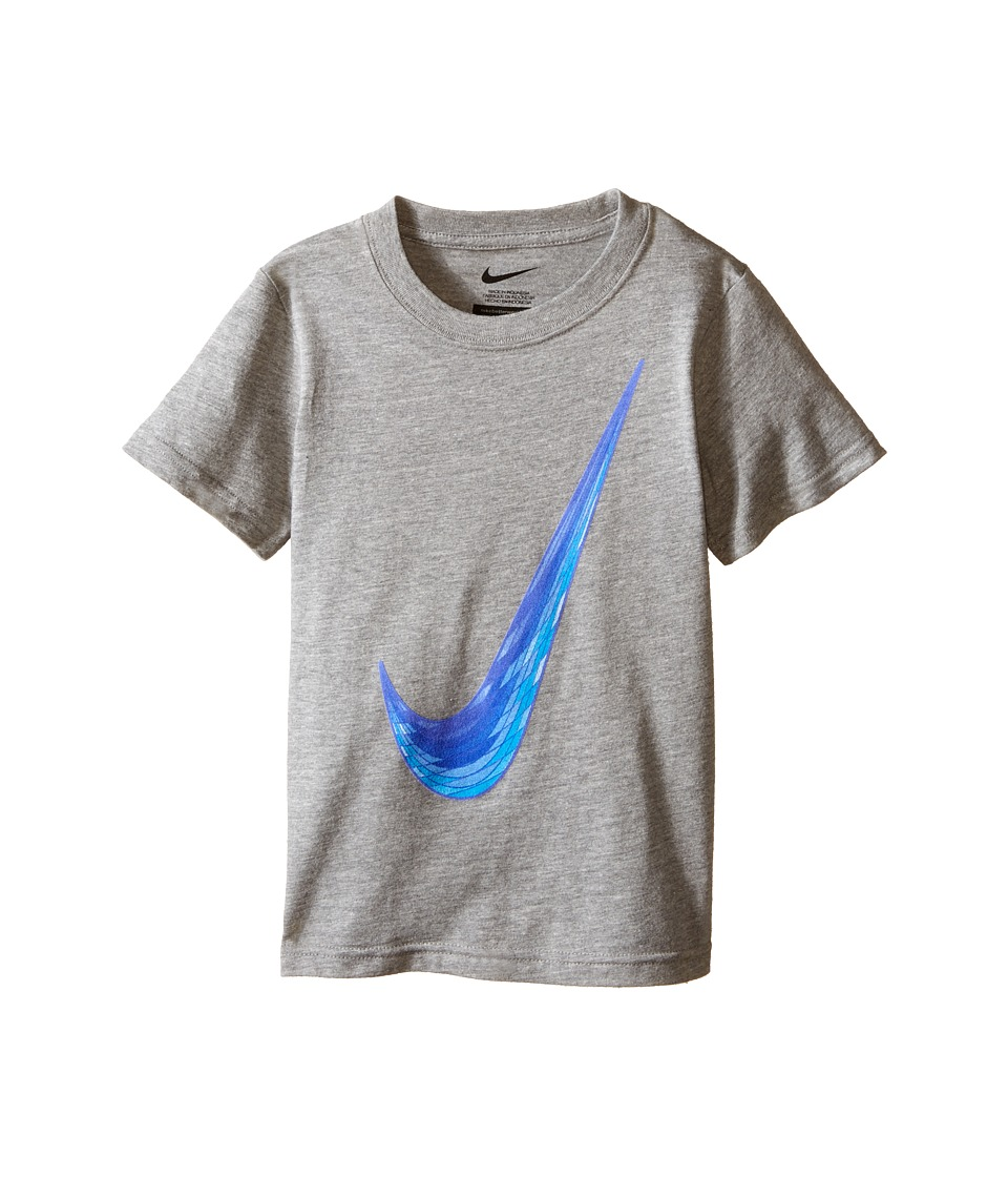Nike Kids Blur Swoosh Short Sleeve Tee Little Kids Dark Grey Heather Boys T Shirt