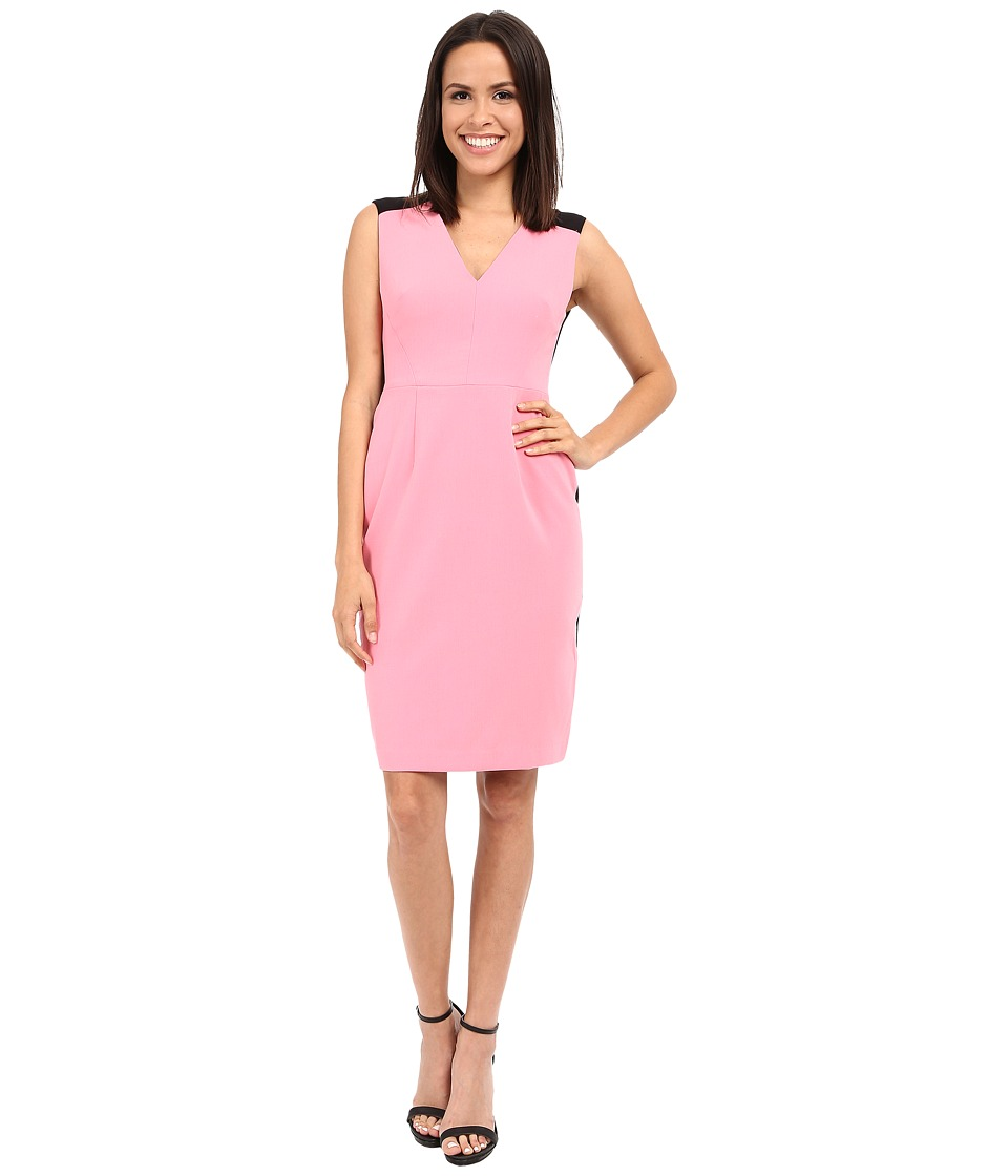 Ellen Tracy Color Blocked Seamed Sheath Dress Azalea Womens Dress