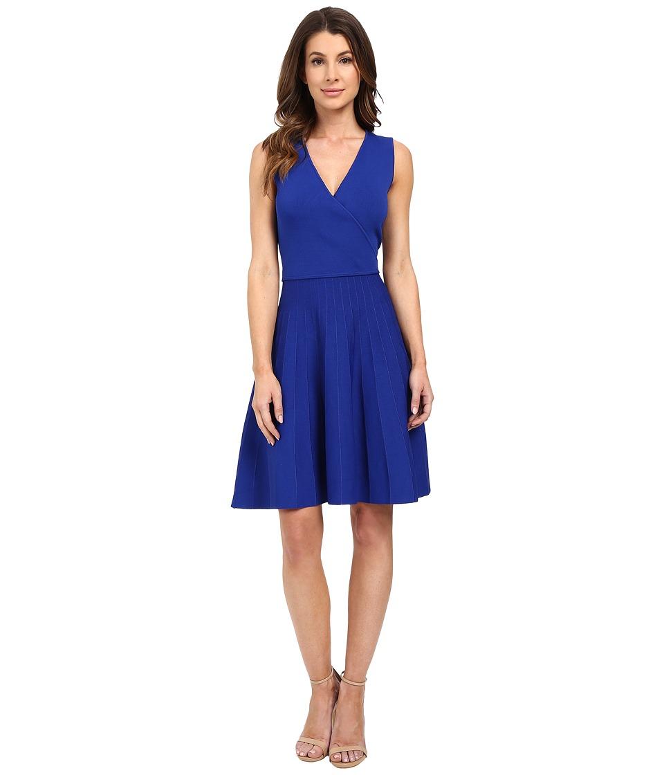 Ellen Tracy Stripe Inset Fit and Flare Dress Azure Womens Dress