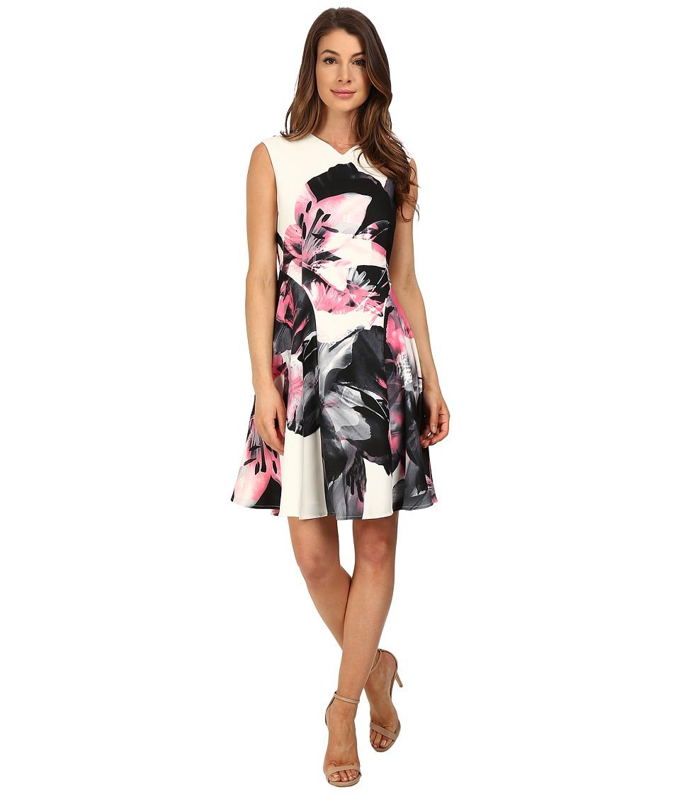 Ellen Tracy Printed Soft Fold Dress Lilies Magnolis Womens Dress