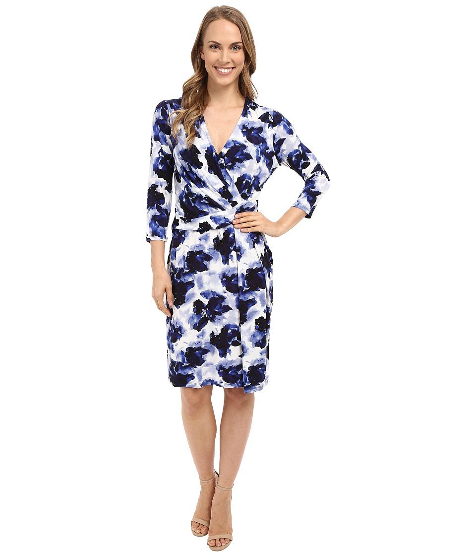 Ellen Tracy Knit Twist Dress Watercolor Navy Womens Dress