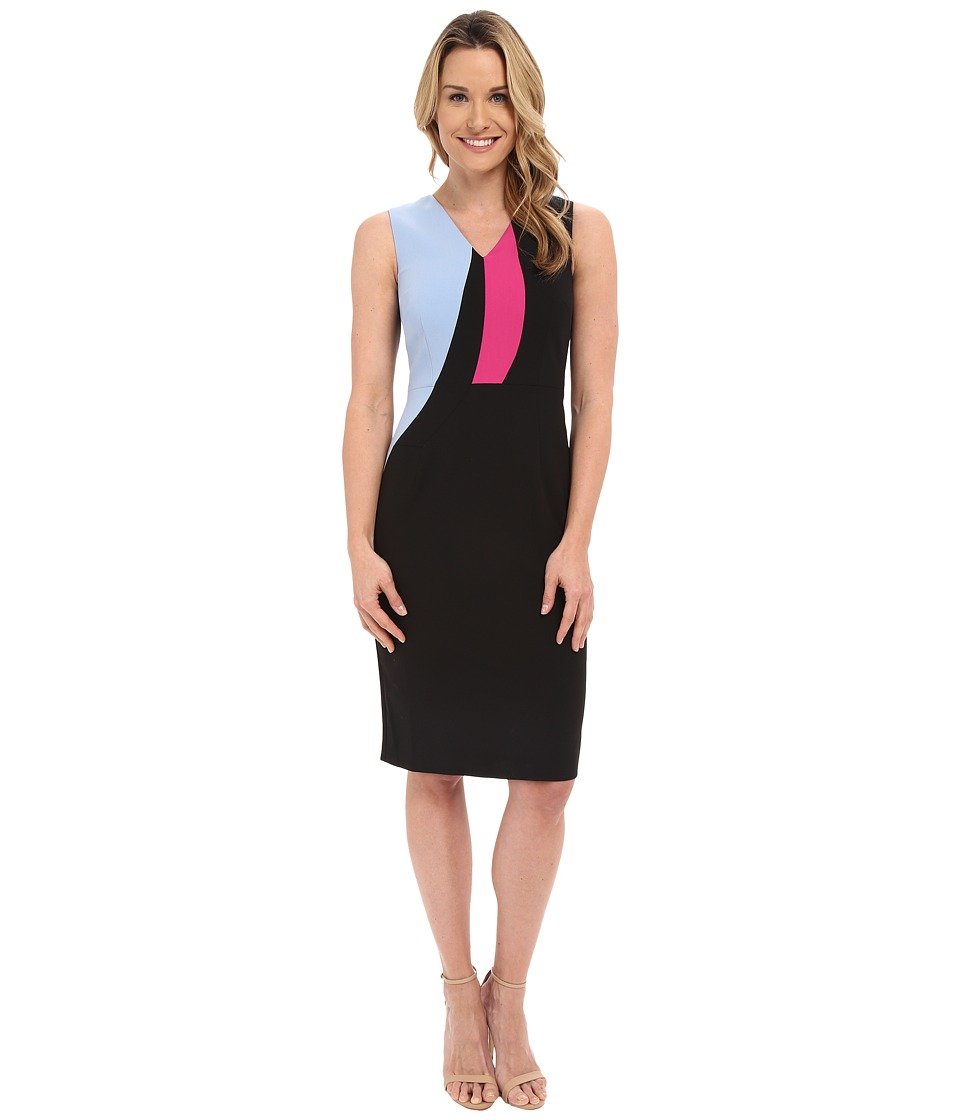 Ellen Tracy Color Block Sheath Dress E Black Womens Dress