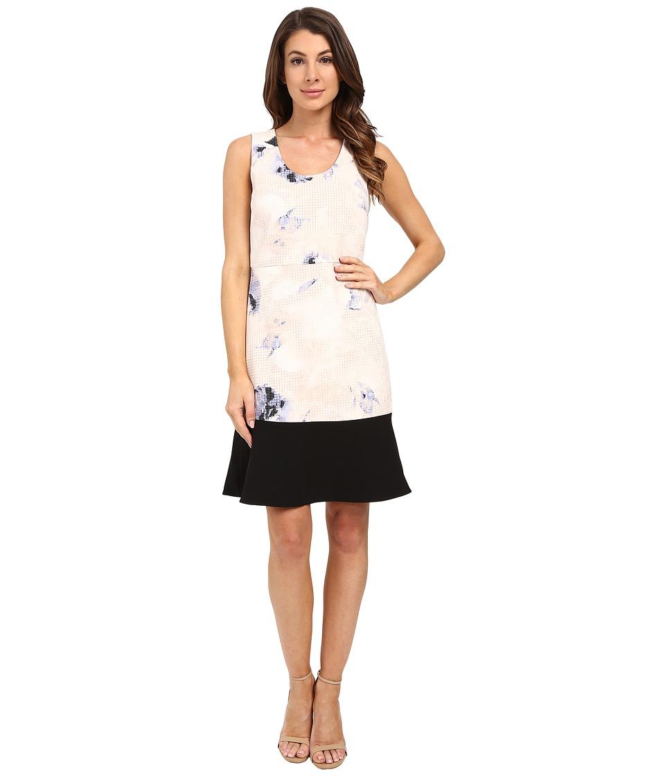 Ellen Tracy Flounce Sheath Dress Dream Pixel Petal Womens Dress