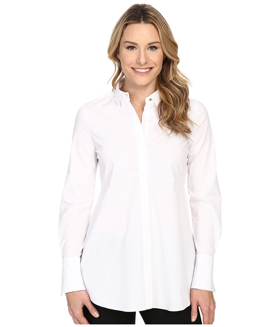 Ellen Tracy Fit and Flare Tunic Shirt E White Womens Long Sleeve Button Up