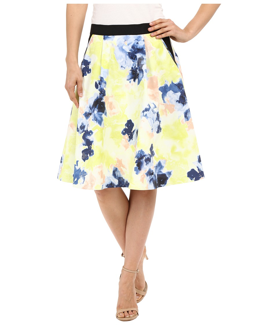 Ellen Tracy Elastic Waist Pleated Skirt Floral Matrix Multi Womens Skirt