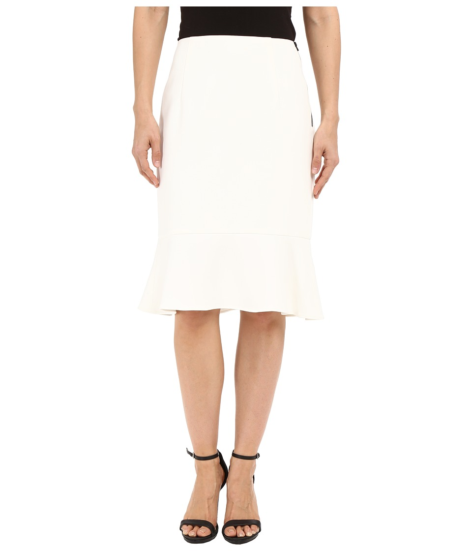 Ellen Tracy Flounce Hem Pencil Skirt Off White Womens Skirt