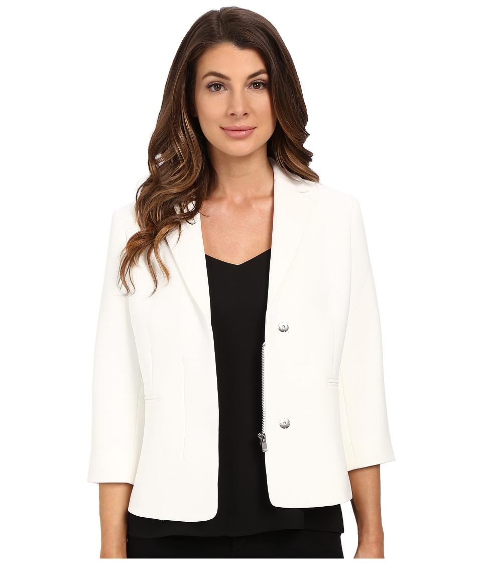 Ellen Tracy Hidden Zip Front Blazer Off White Womens Jacket