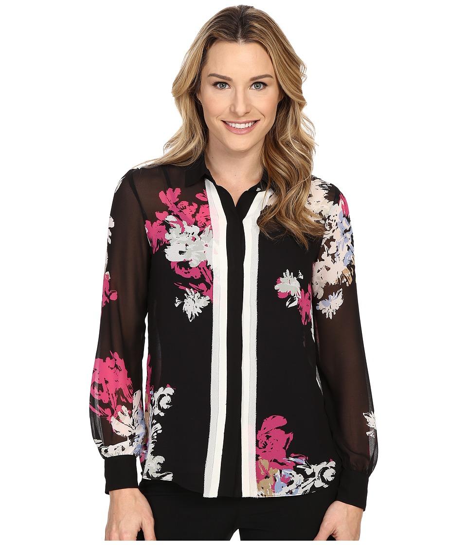 Ellen Tracy Layered Placket Button Front Blouse Vibrant Blooms Multi Womens Blouse