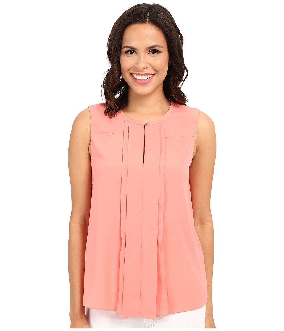 Ellen Tracy Pleat Front Keyhole Shell Coral Rose Womens Clothing