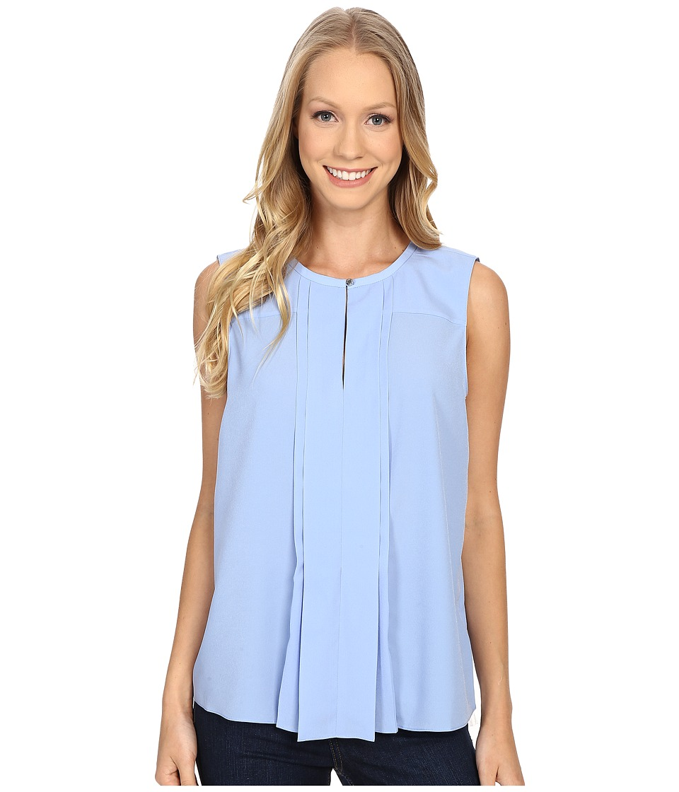 Ellen Tracy Pleat Front Keyhole Shell Bluebell Womens Clothing
