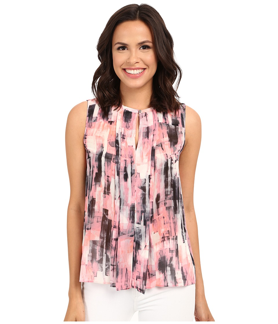 Ellen Tracy Pleat Front Printed Keyhole Shell Ethereal Multi Womens Clothing