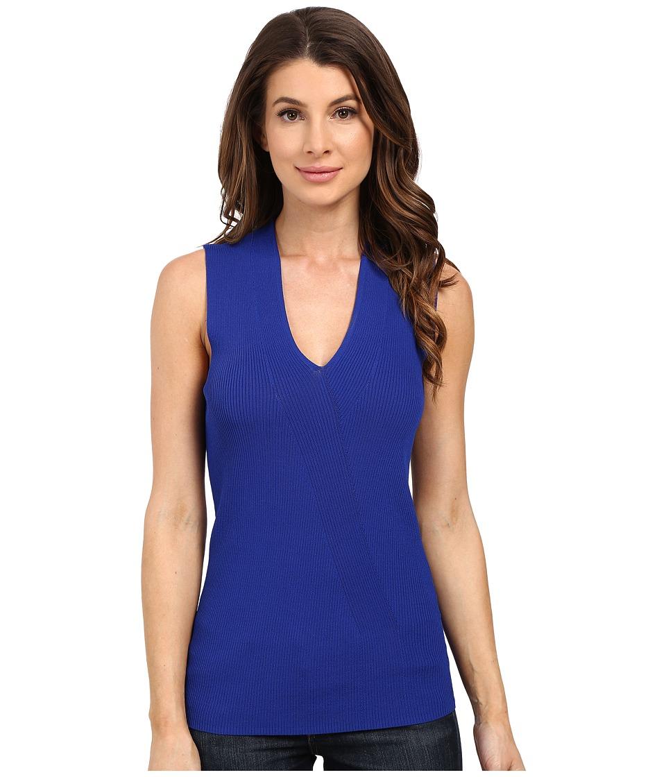 Ellen Tracy Placed Rib Shell Azure Womens Clothing