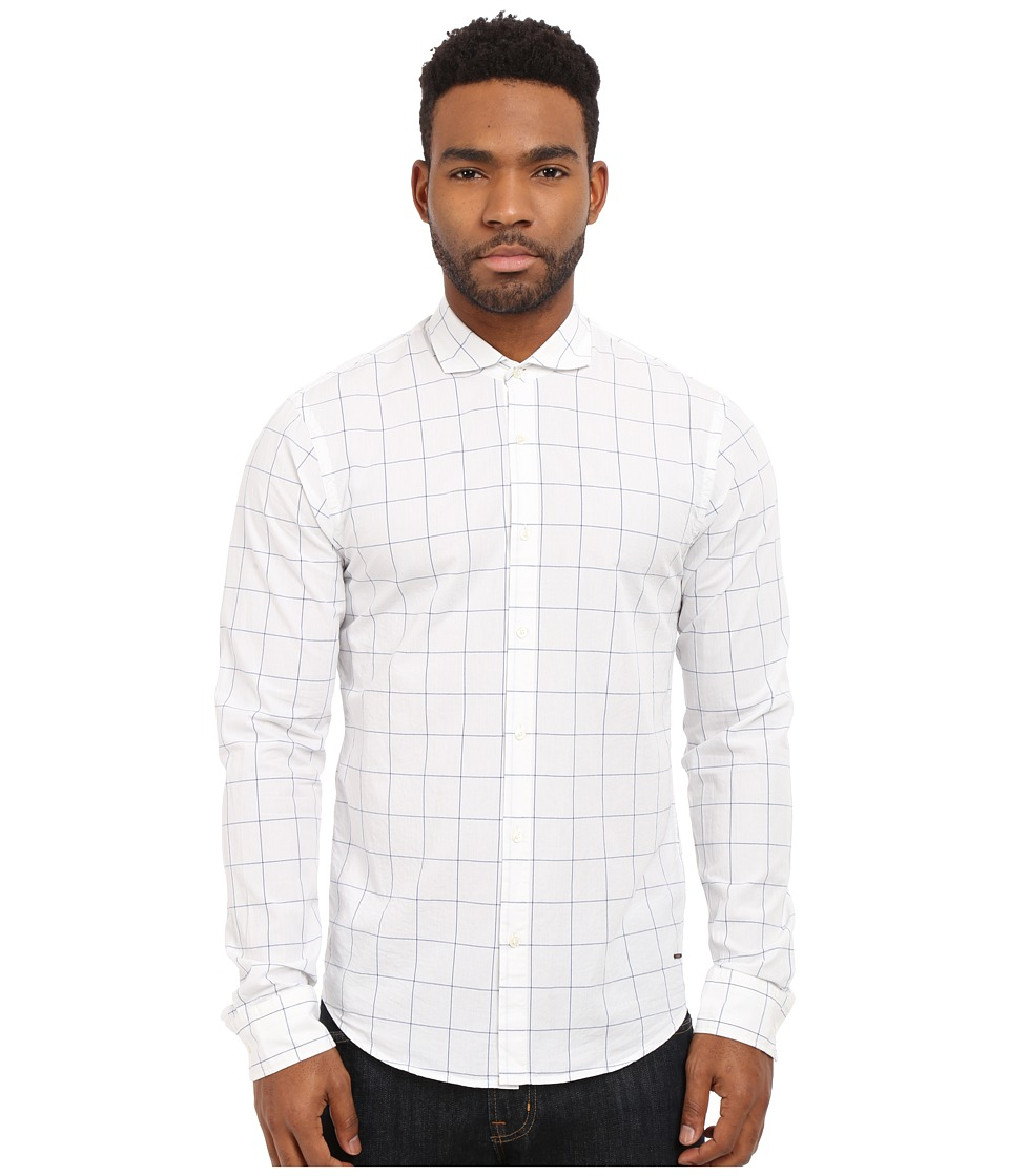 Scotch amp Soda Easy Open Woven Check Shirt White Mens Long Sleeve Button Up