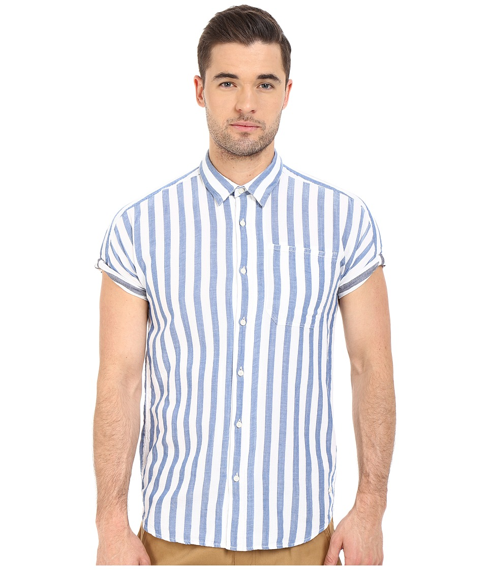 Scotch amp Soda Short Sleeve Shirt in Open Weave with Contrast Inside Light Blue Mens Clothing