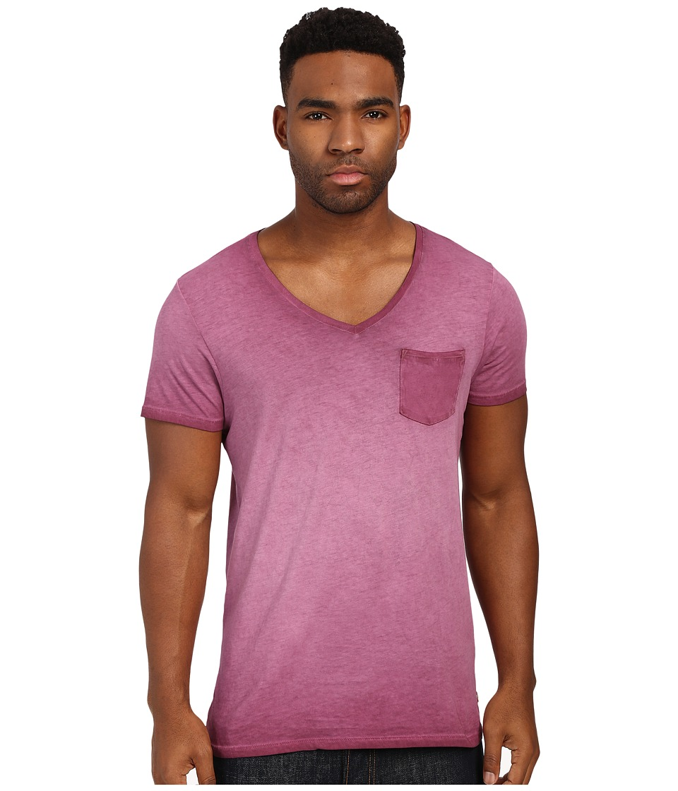Scotch amp Soda Oil Washed Short Sleeve Tee with Chest Pocket Mauve Mens T Shirt