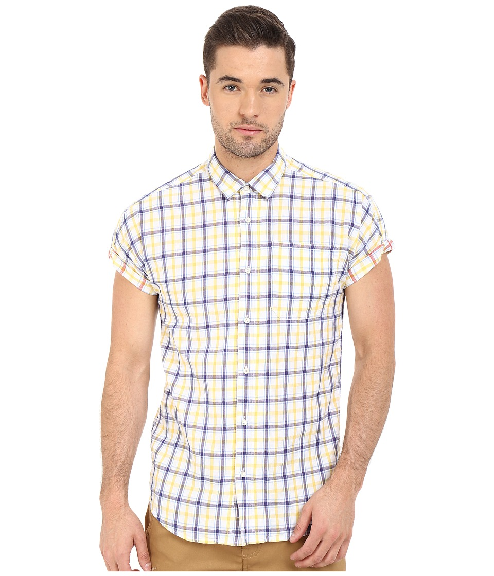 Scotch amp Soda Short Sleeve Shirt in Open Weave with Contrast Inside Yellow Mens Clothing