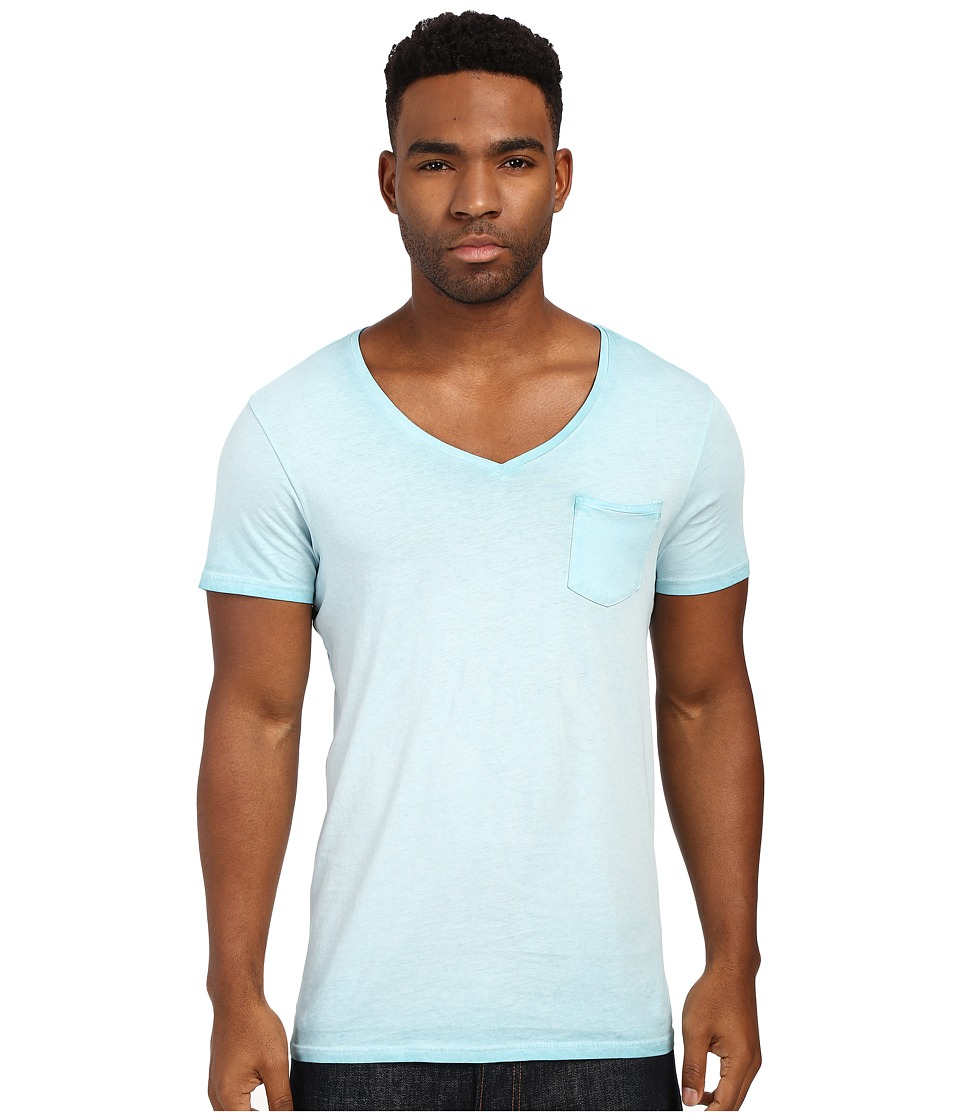 Scotch amp Soda Oil Washed Short Sleeve Tee with Chest Pocket Spearmint Mens T Shirt