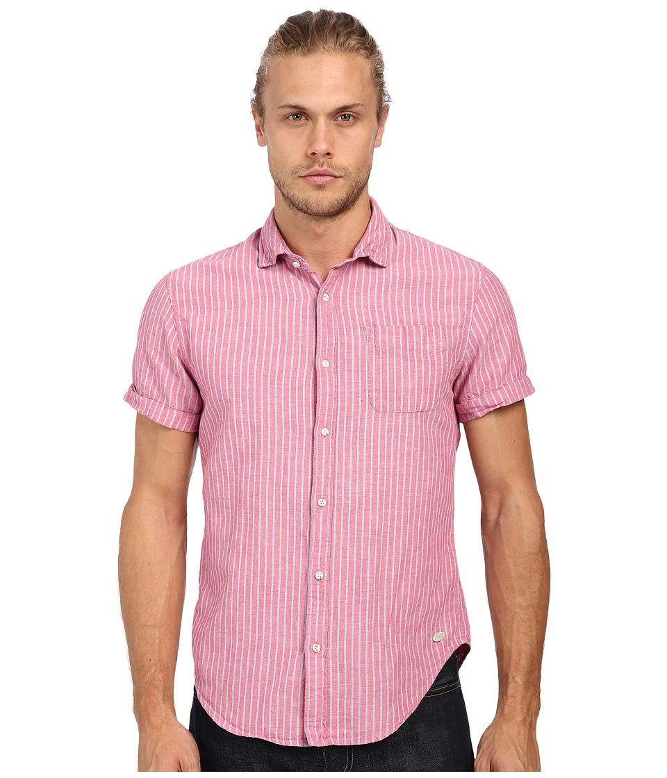 Scotch amp Soda Relaxed Short Sleeve Shirt in Crinkled Linen Quality Pink Mens Clothing