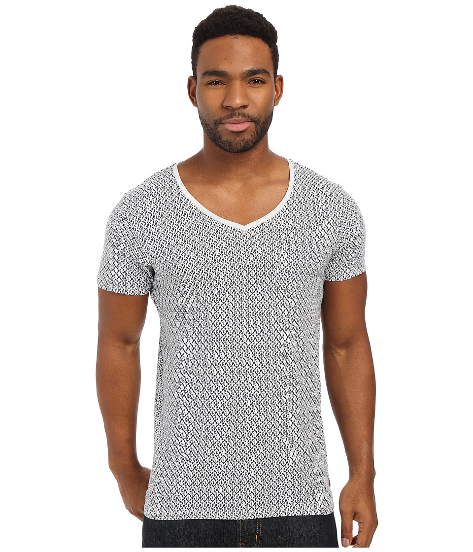 Scotch amp Soda Oil Washed Short Sleeve Tee with Chest Pocket White Mens T Shirt
