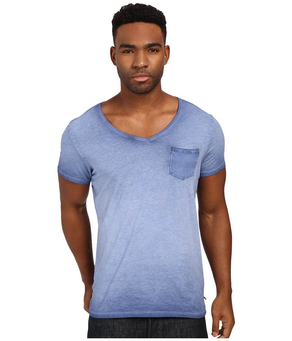 Scotch amp Soda Oil Washed Short Sleeve Tee with Chest Pocket Denim Blue Mens T Shirt