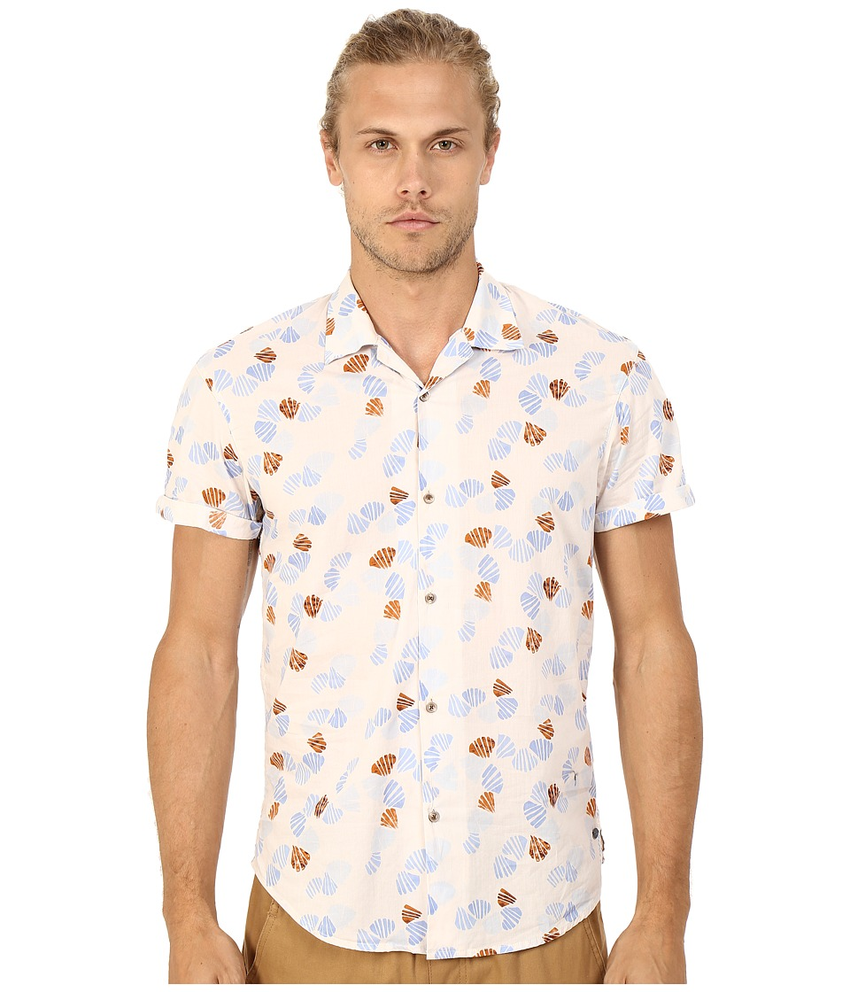 Scotch amp Soda All Over Printed Short Sleeve Shirt in Hawaii Styling Beige Mens Short Sleeve Button Up