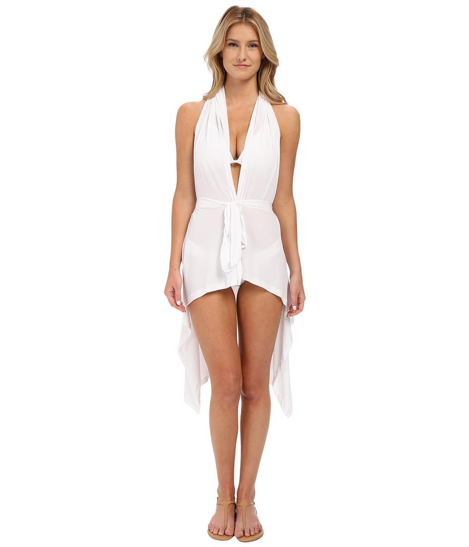 Luli Fama Cosita Buena Beach Wrap Vest Cover Up White Womens Swimwear