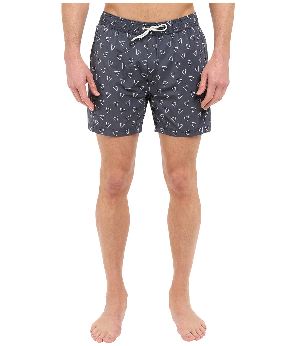 Scotch amp Soda Medium Length Swim Shorts with Cut Sewen Parts in 4 Solids Midnight Mens Swimwear