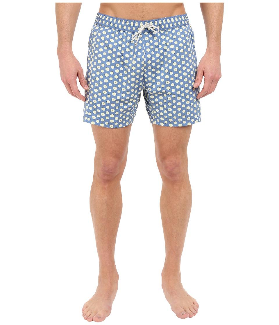 Scotch amp Soda Medium Length Swim Shorts with Cut Sewen Parts in 4 Solids Blue Mens Swimwear