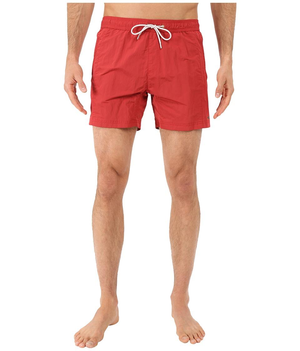 Scotch amp Soda Medium Length Swim Shorts with Cut Sewen Parts in 4 Solids Cherry Red Mens Swimwear