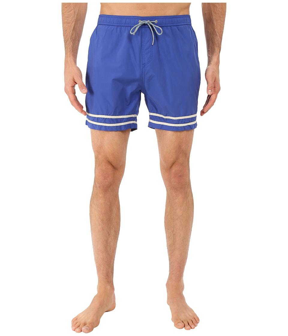 Scotch amp Soda Medium Length Swim Shorts in Solid and Color Block Feeling Cobalt Mens Swimwear