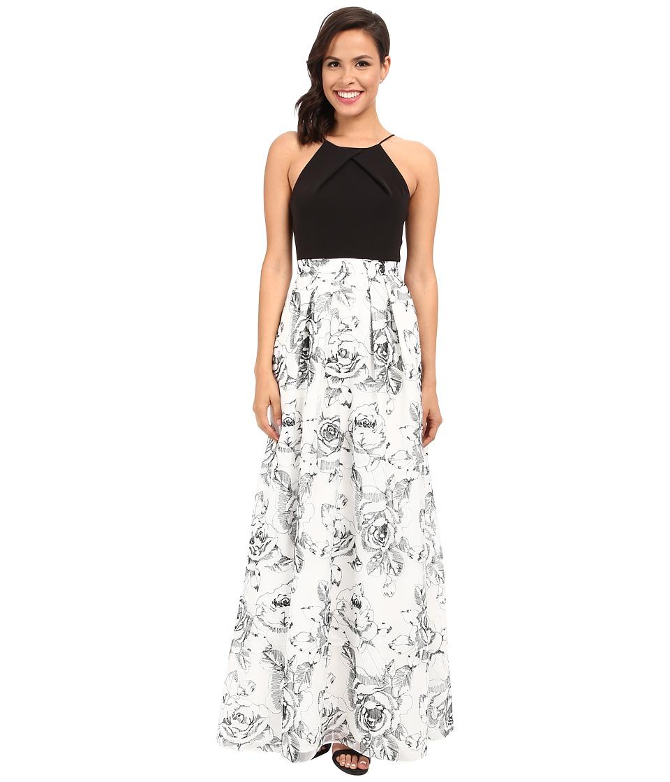 Aidan Mattox Long Halter Neck Column with Lace Ball Gown Skirt Ivory/Black Womens Dress
