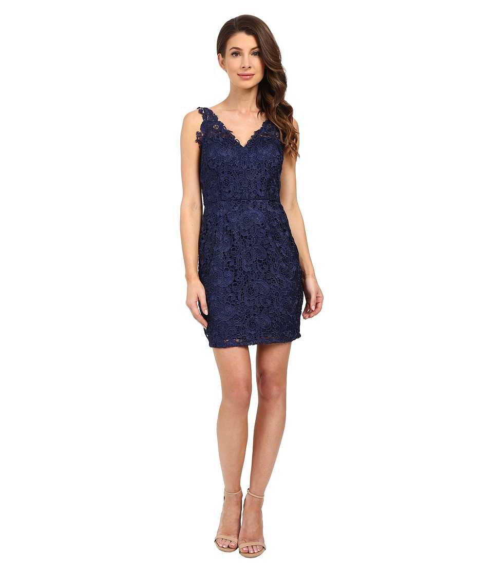 Aidan Mattox V-Neck All Over Lace Cocktail Dress (Navy) Women