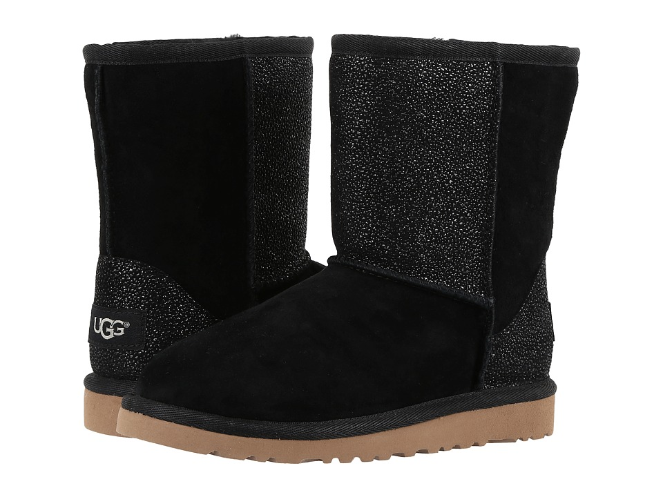 UGG Kids Classic Short Serein (Little Kid/Big Kid) (Black) Girls Shoes
