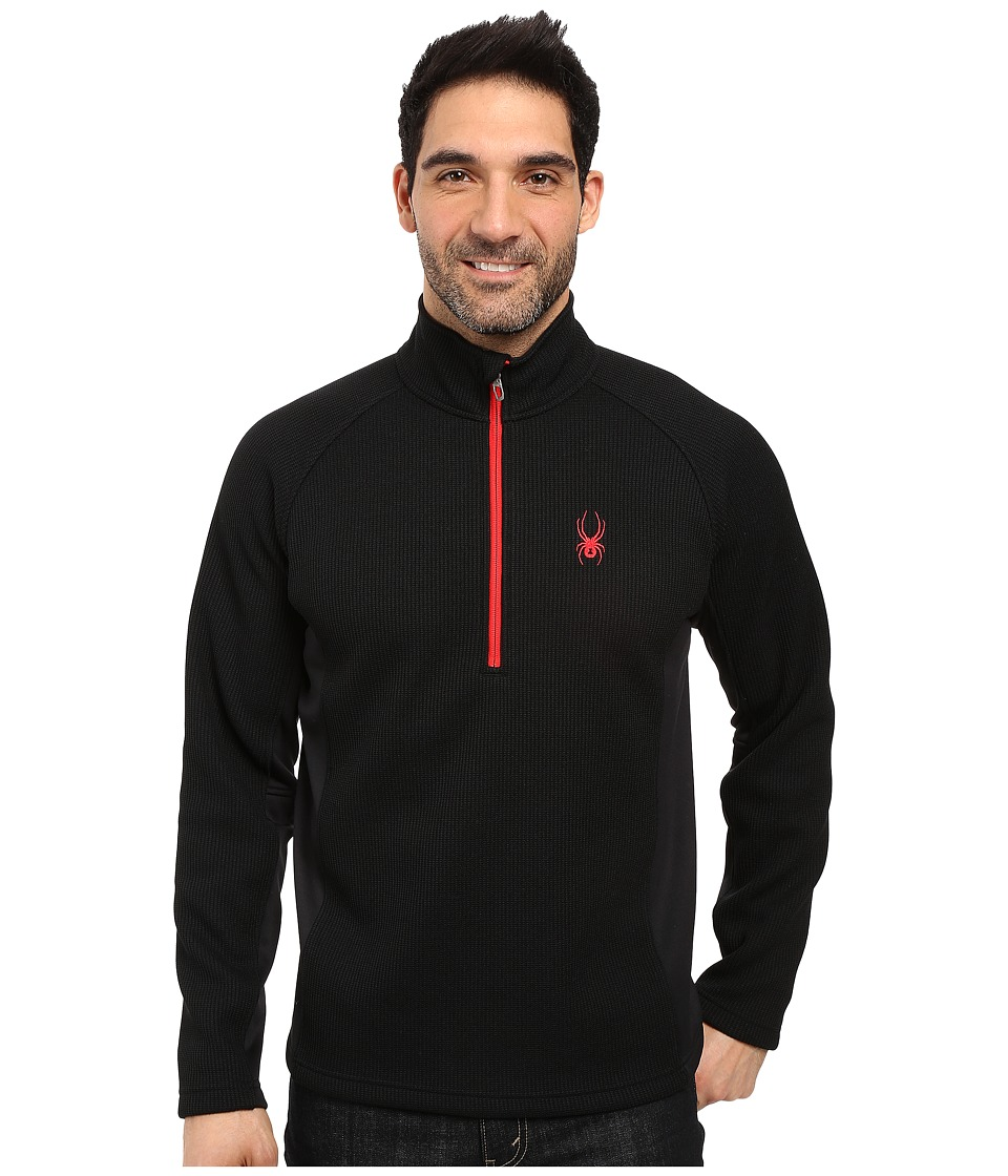 Spyder Outbound Half Zip Mid Weight Core Sweater (Black/Black/Red) Men
