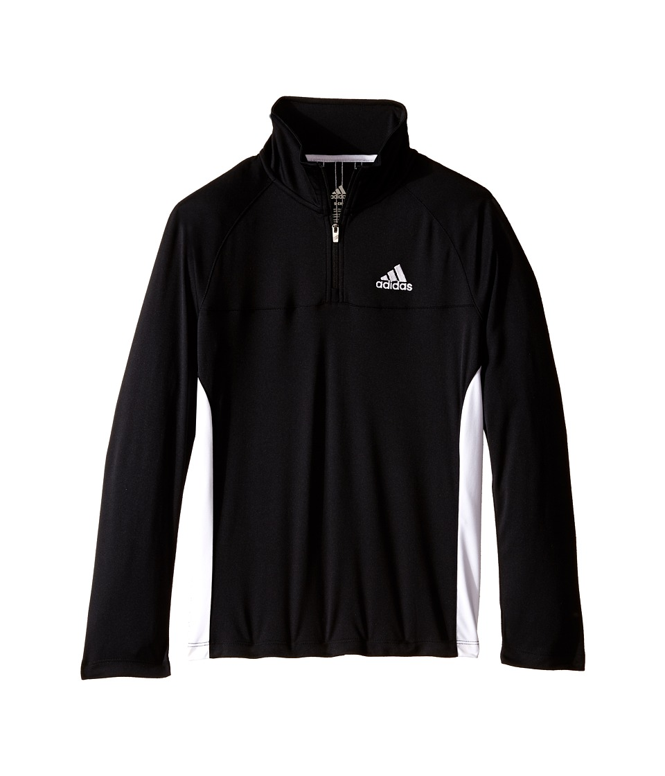 adidas Kids 1/4 Zip Big Kids Black/White Boys Long Sleeve Pullover